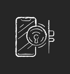 door locker chalk white icon on black background vector image