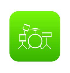drum kit icon digital green vector image