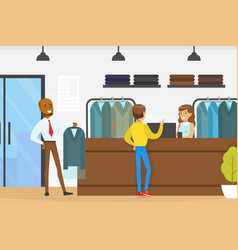 Dry cleaning service woman employee giving clean vector