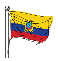 ecuador national flag one line abstract icon vector image