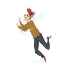 Elderly stumbled man falling down retired male vector