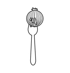 Figure fresh onion vegetable in the fork utensil vector