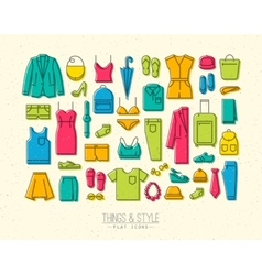 Flat clothes icons color vector image