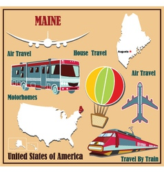 Flat map of Maine vector