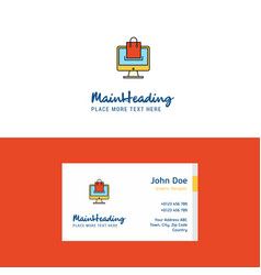 flat online shopping logo and visiting card vector image