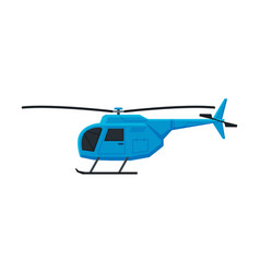 flying blue helicopter aircraft chopper air vector image