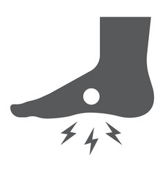 Foot pain glyph icon body and painful feet ache vector