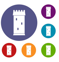 fortress tower icons set vector image vector image