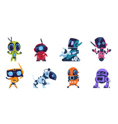Futuristic robots cartoon modern ai characters of vector