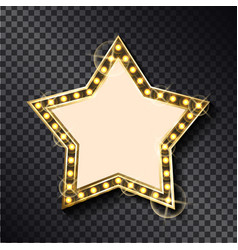 glowing frame in shape star on transparent vector image