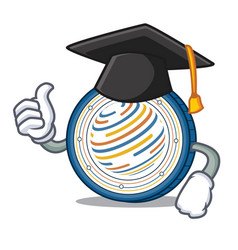 Graduation factom coin character cartoon vector
