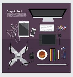 graphic tool workspace isolated vector image