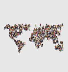 Group of people in form of world map vector