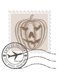 halloween stamp with carved pumpkin vector image