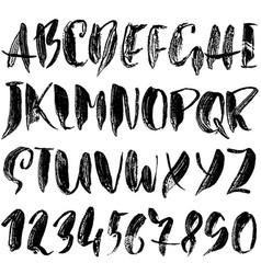 Handdrawn dry brush font modern textured brush vector