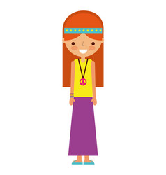 hippie woman cartoon character on white background vector image