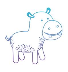 Hippopotamus cartoon in degraded blue to purple vector