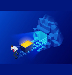 isometric mining bitcoin farm cryptocurrency vector image