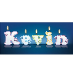 KEVIN written with burning candles vector