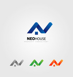 letter type n house property logo sign symbol icon vector image