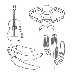 Line art black and white 4 mexican elements vector