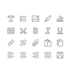 Line Text Editing Icons vector