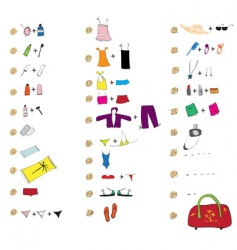 List of clothes for travel vector