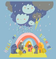 Little cartoon town in summer storm hello summer vector