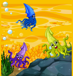Many different squids cartoon character vector
