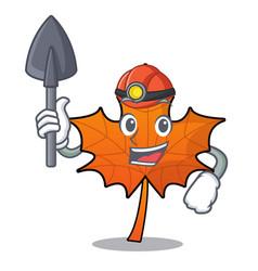 Miner red maple leaf mascot cartoon vector