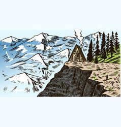 Mountain landscape background winter alpine peaks vector