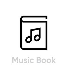 music book icon editable line vector image