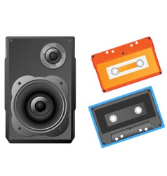 musical speaker and audiocassette vector illustrat vector image