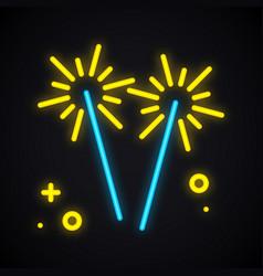 neon lighting sparkler glowing bengal fire sign vector image