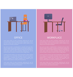 office workplace design table computer and chair vector image