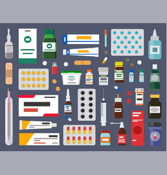 packs of pills healing ointment and syrup bottles vector image