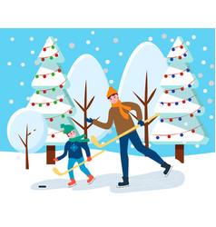 People playing hockey near snowy fir-tree vector