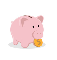 piggy bank with coin classic ceramic pig symbol vector image