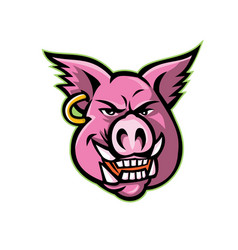 Pink pig wearing earring mascot vector