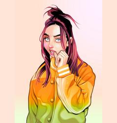 portrait a beautiful hip hop girl vector image