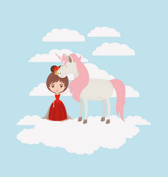 princess with unicorn in the clouds vector image