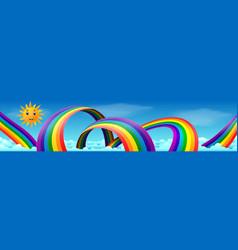 Rainbow with skies and sun vector