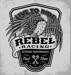 Rebel racing eagle crest shield t-shirt graphic vector