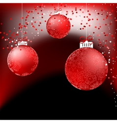 Red baubles on bright background EPS8 vector image