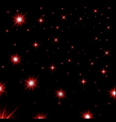 Red stars black night sky background abstract vector