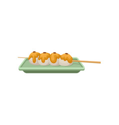 rice balls topped with sweet sauce traditional vector image