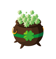 Saint patrick cauldron with clovers leafs vector