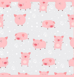 seamless pattern cheerful cute little cute pigs vector image