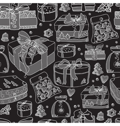 Seamless pattern gift boxes and cookies on a vector