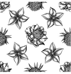 seamless pattern with black and white bellflower vector image
